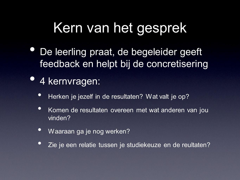 Kern van het gesprek De leerling praat, de begeleider geeft feedback en helpt bij de concretisering.