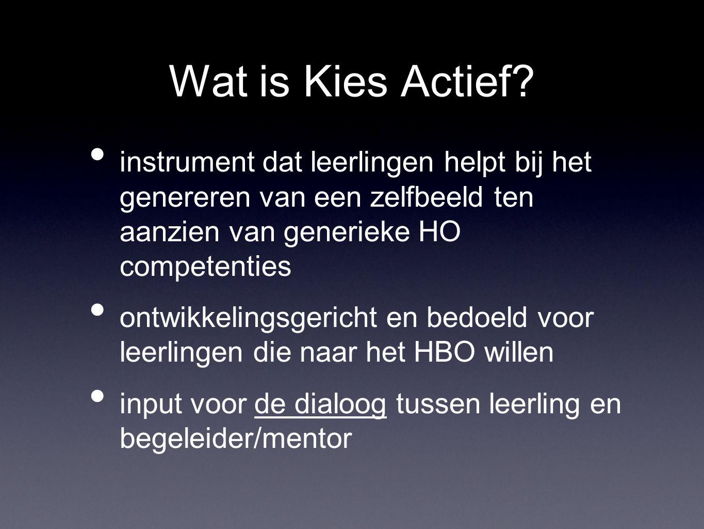 Wat is Kies Actief instrument dat leerlingen helpt bij het genereren van een zelfbeeld ten aanzien van generieke HO competenties.