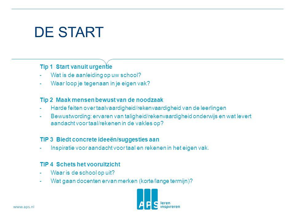 De start Tip 1 Start vanuit urgentie