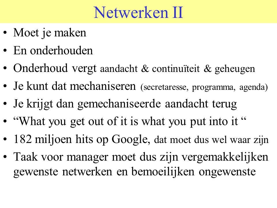 Netwerken II Moet je maken En onderhouden