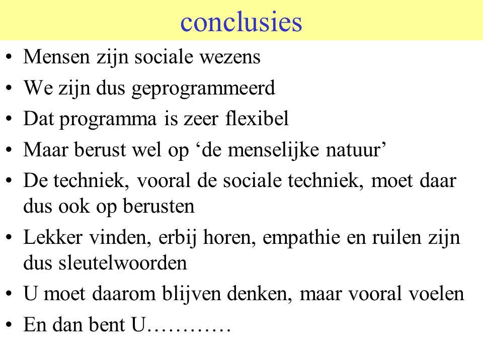 conclusies Mensen zijn sociale wezens We zijn dus geprogrammeerd
