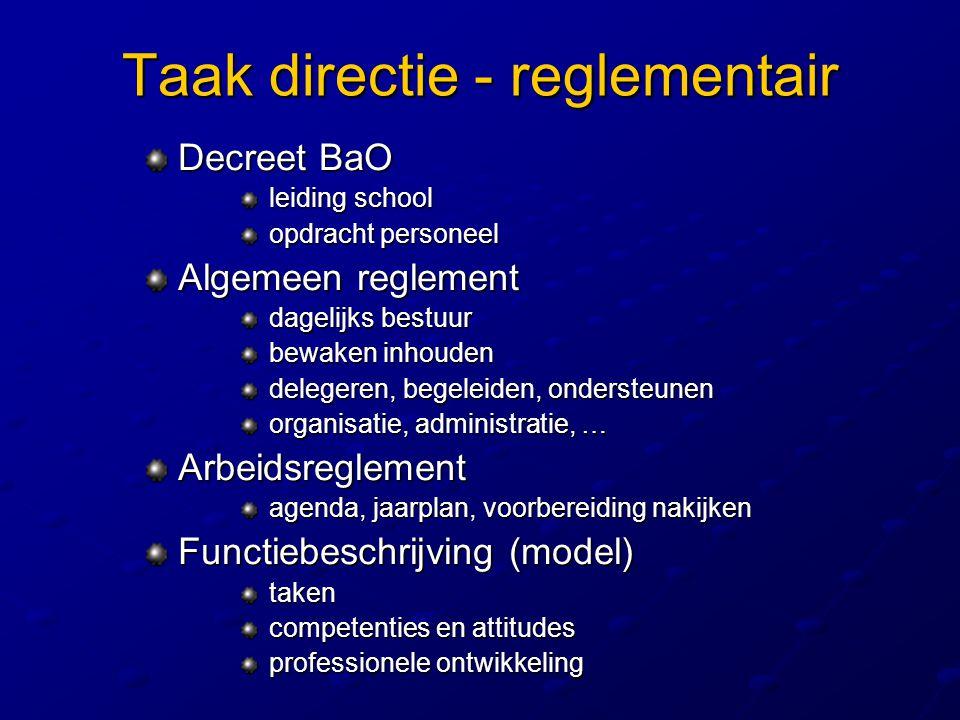 Taak directie - reglementair