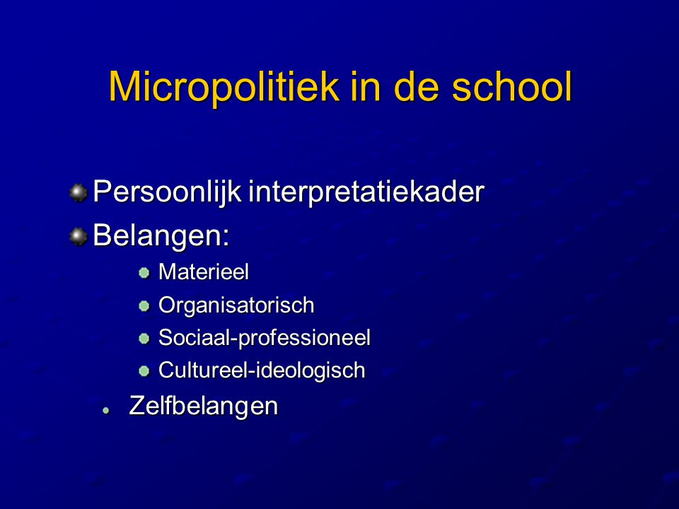 Micropolitiek in de school