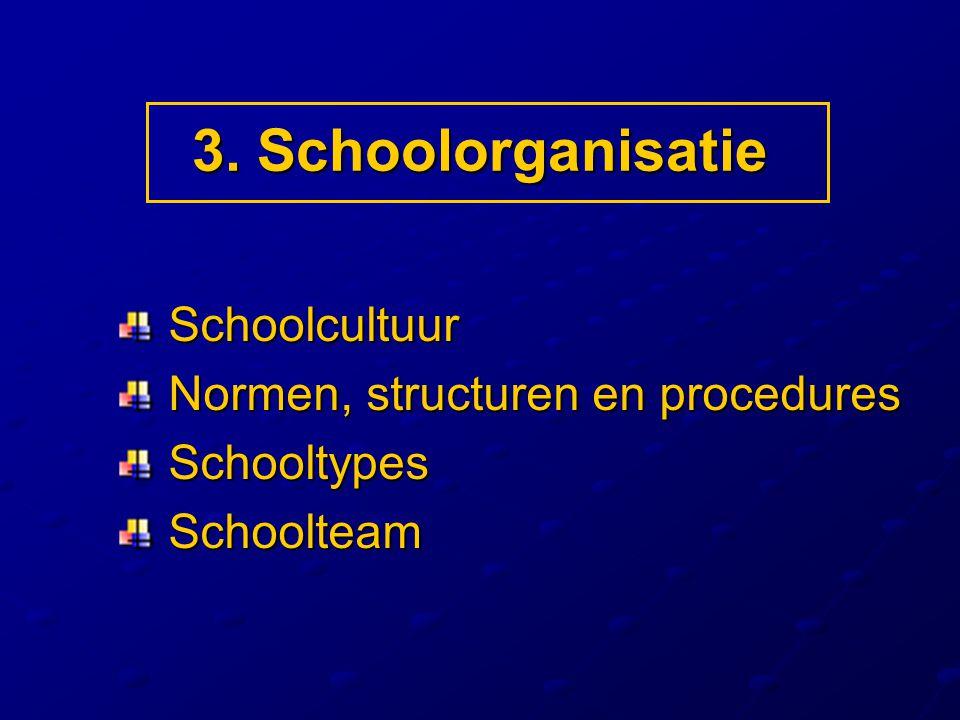 3. Schoolorganisatie Schoolcultuur Normen, structuren en procedures