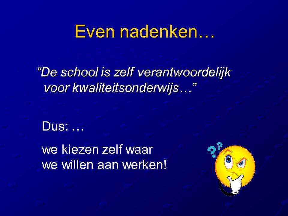 Even nadenken… De school is zelf verantwoordelijk voor kwaliteitsonderwijs… Dus: … we kiezen zelf waar we willen aan werken!