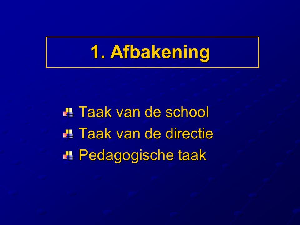 1. Afbakening Taak van de school Taak van de directie