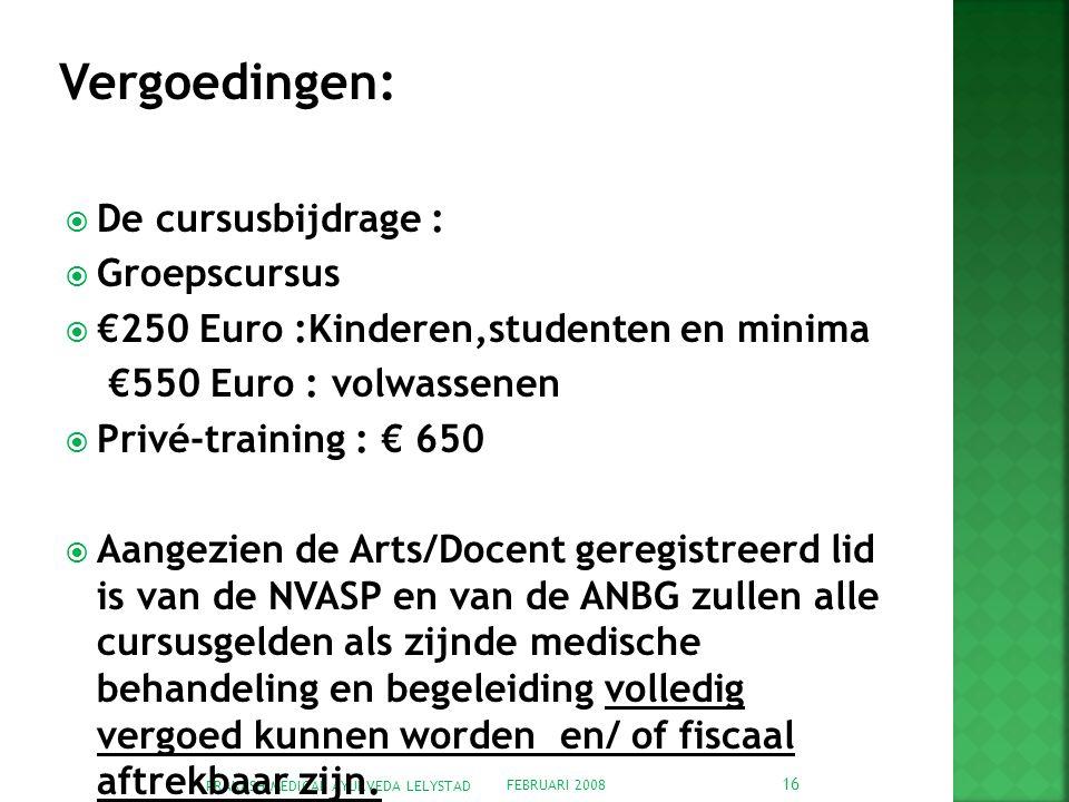 Vergoedingen: De cursusbijdrage : Groepscursus
