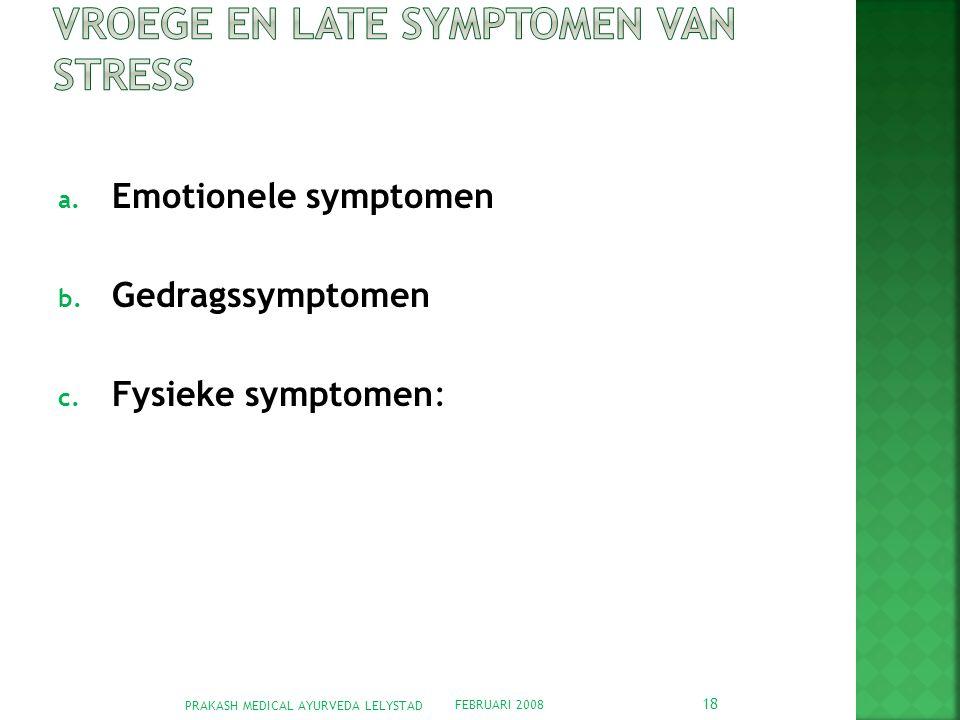 Vroege en late symptomen van stress