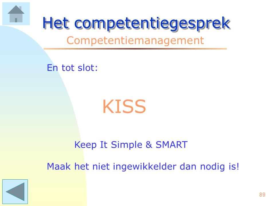 KISS Het competentiegesprek Competentiemanagement En tot slot: