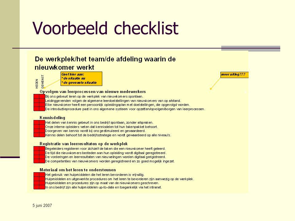 Voorbeeld checklist 5 juni 2007