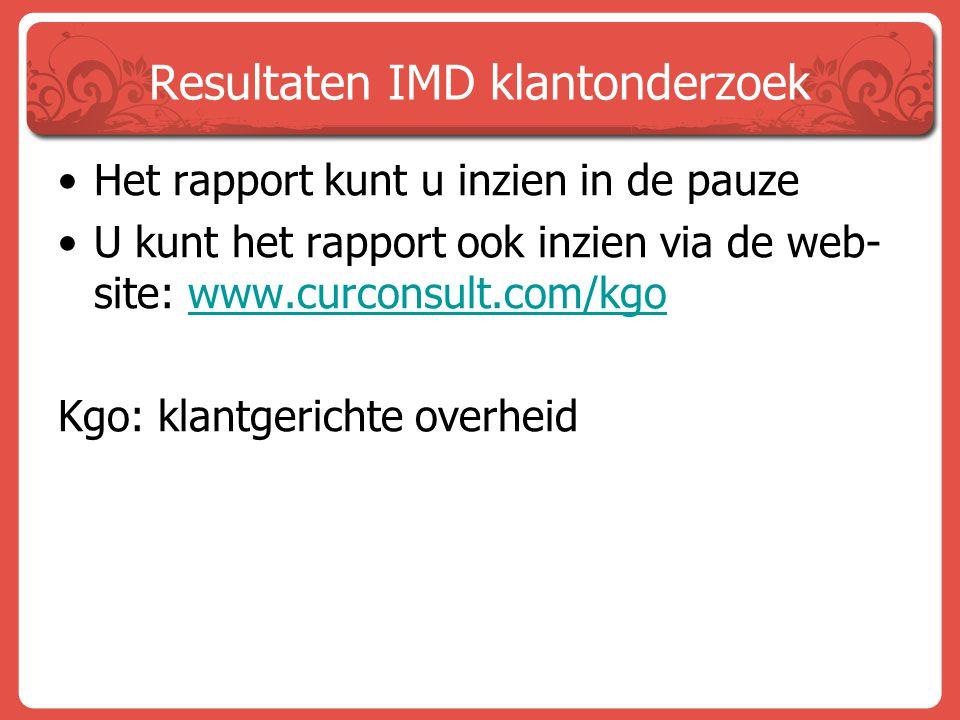 Resultaten IMD klantonderzoek