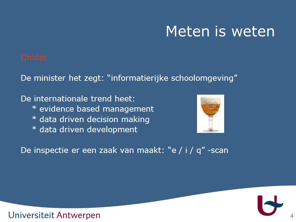 Meten is weten Omdat. De minister het zegt: informatierijke schoolomgeving De internationale trend heet: