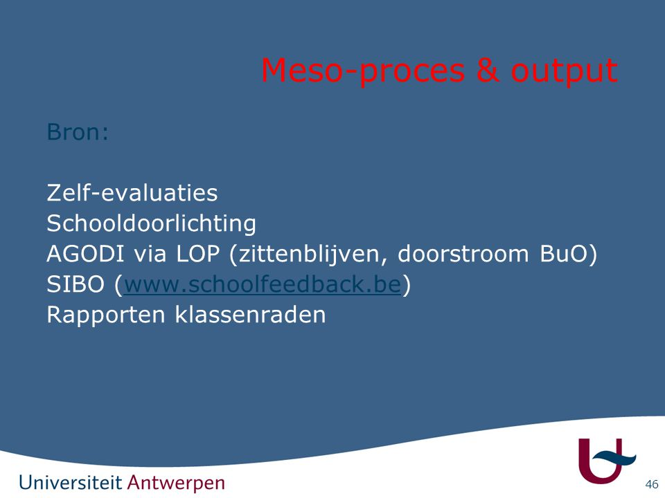 Meso-proces & output Bron: Zelf-evaluaties Schooldoorlichting