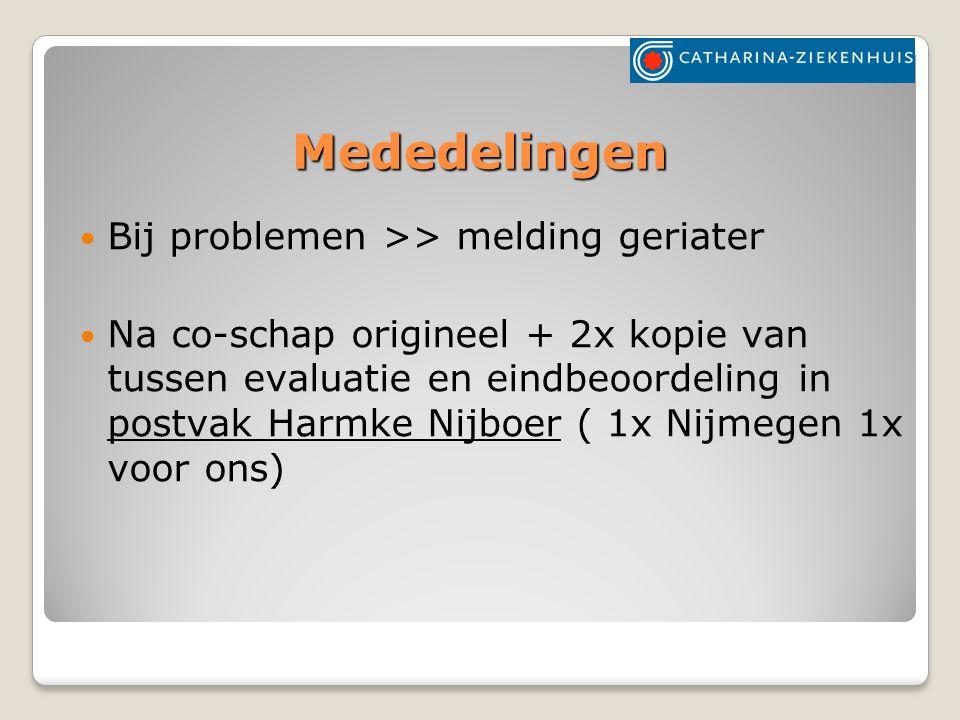 Mededelingen Bij problemen >> melding geriater