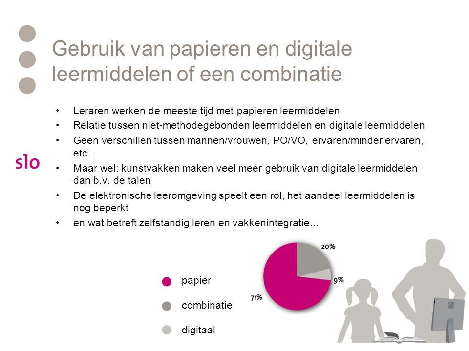 Gebruik van papieren en digitale leermiddelen of een combinatie