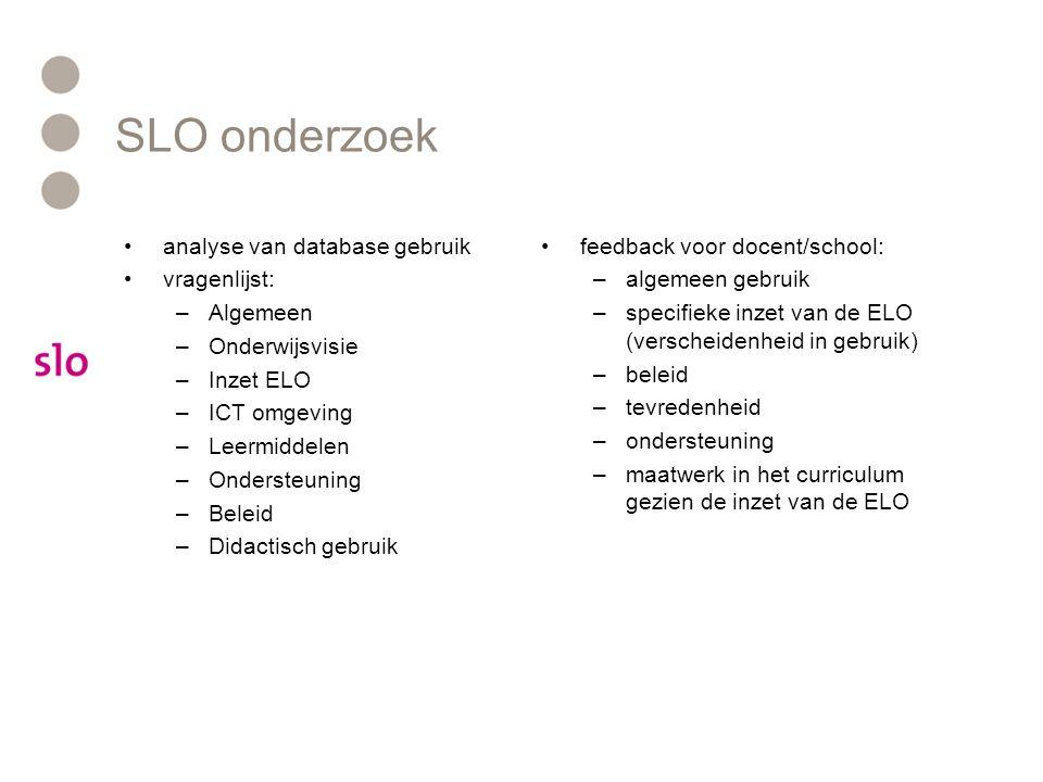 SLO onderzoek analyse van database gebruik vragenlijst: Algemeen
