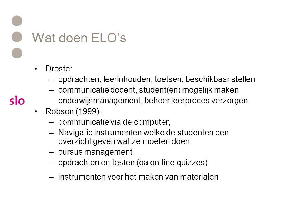 Wat doen ELO's Droste: opdrachten, leerinhouden, toetsen, beschikbaar stellen. communicatie docent, student(en) mogelijk maken.