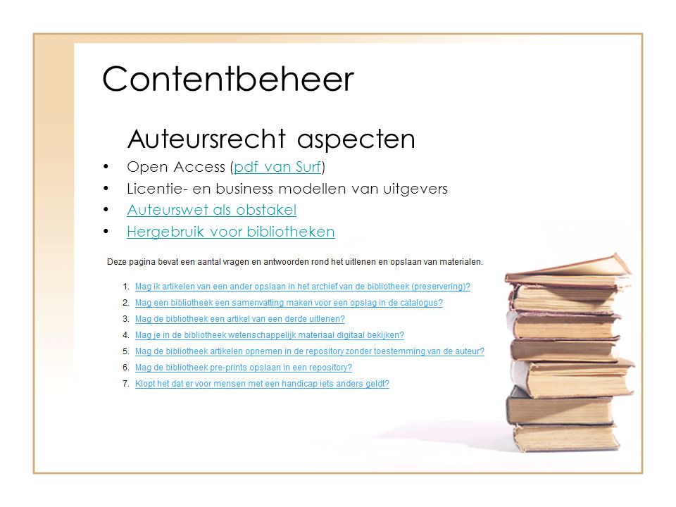 Contentbeheer Auteursrecht aspecten Open Access (pdf van Surf)