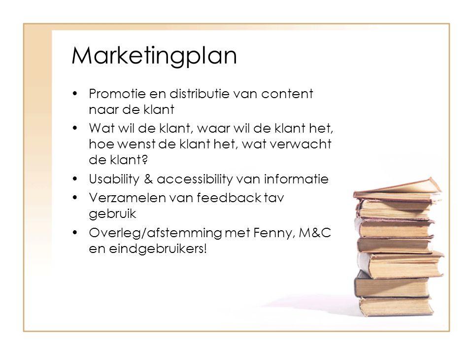 Marketingplan Promotie en distributie van content naar de klant