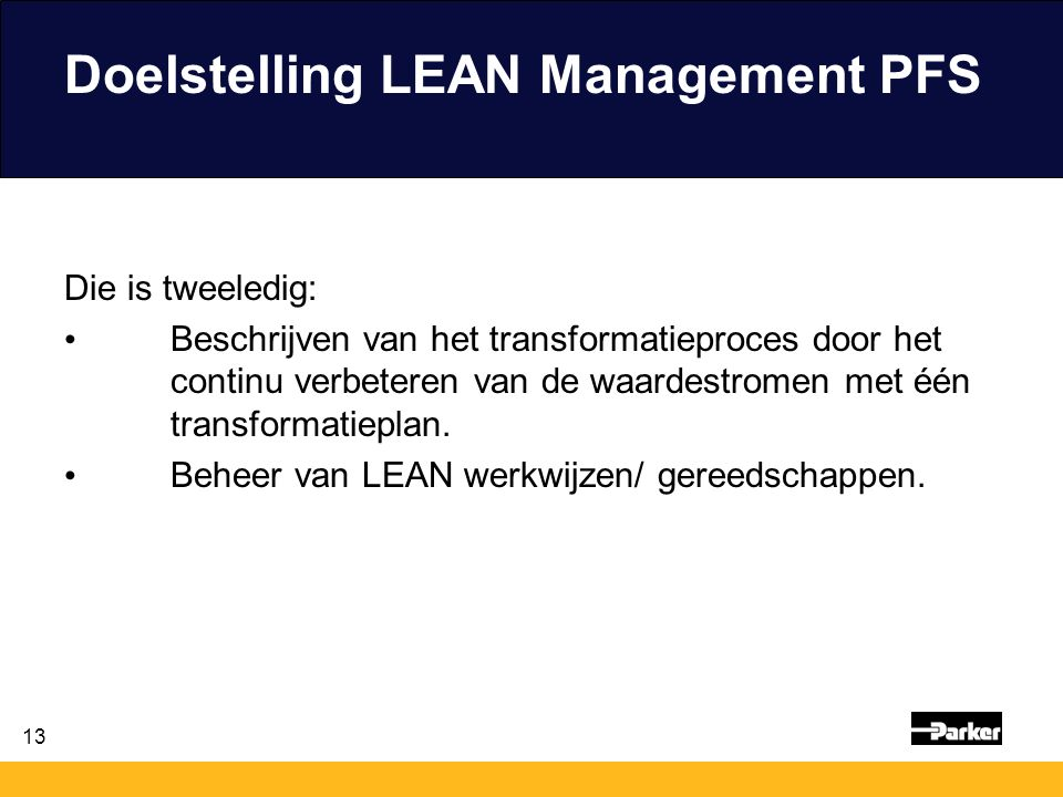 Doelstelling LEAN Management PFS