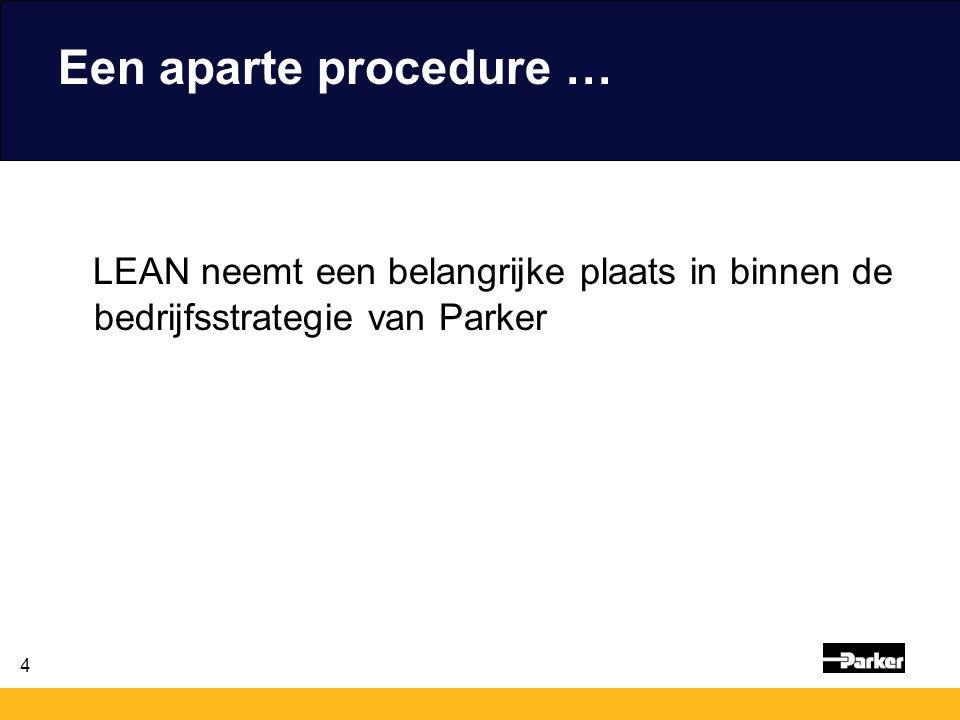 Een aparte procedure … LEAN neemt een belangrijke plaats in binnen de bedrijfsstrategie van Parker
