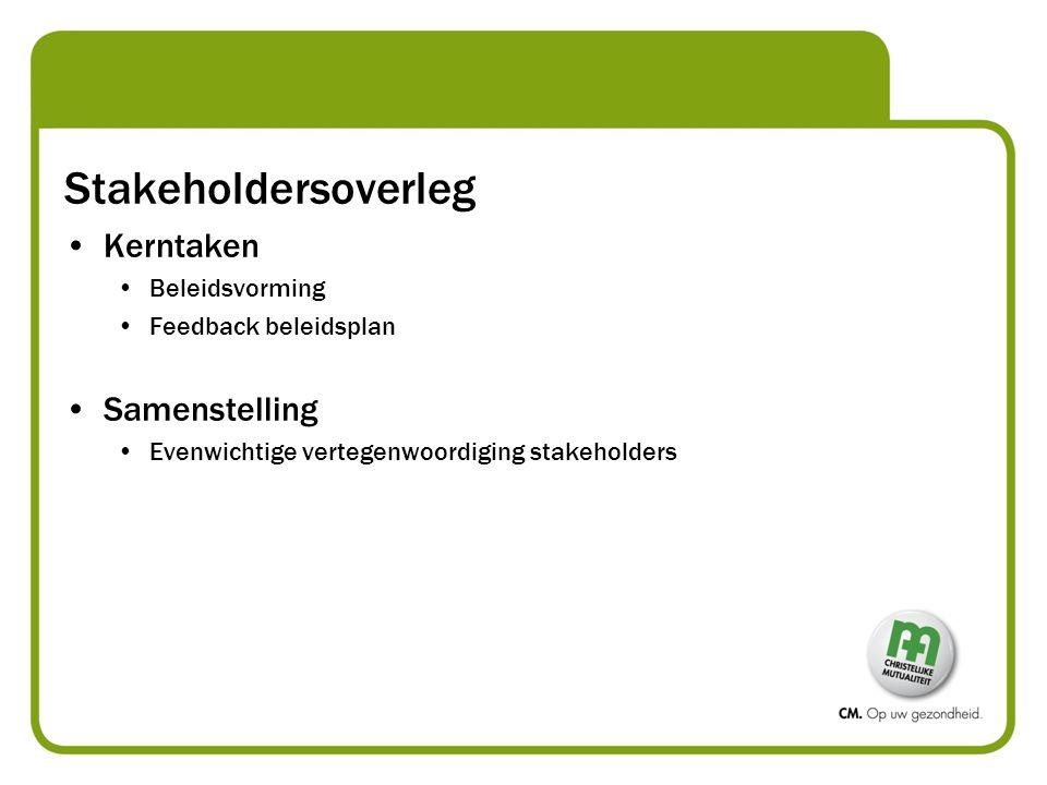 Stakeholdersoverleg Kerntaken Samenstelling Beleidsvorming