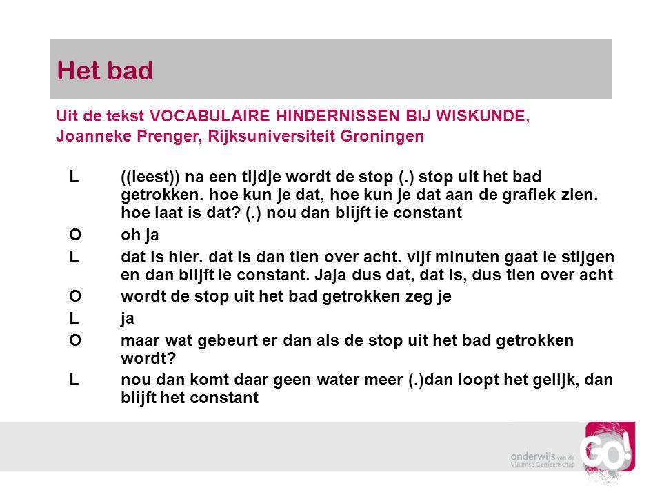 Het bad Uit de tekst VOCABULAIRE HINDERNISSEN BIJ WISKUNDE, Joanneke Prenger, Rijksuniversiteit Groningen.