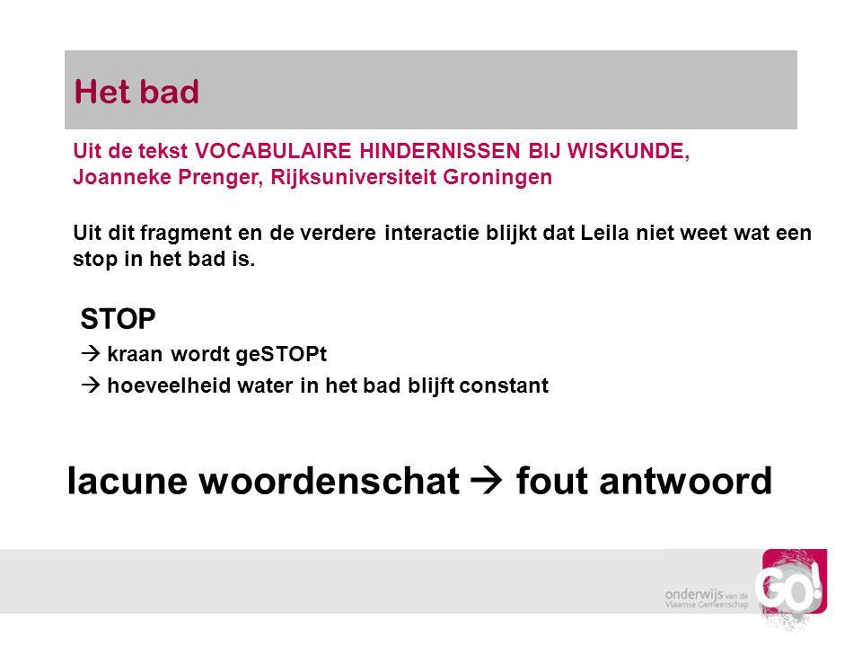 lacune woordenschat  fout antwoord