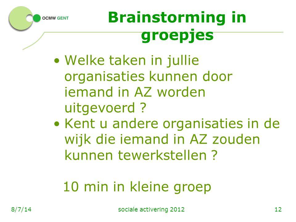 Brainstorming in groepjes