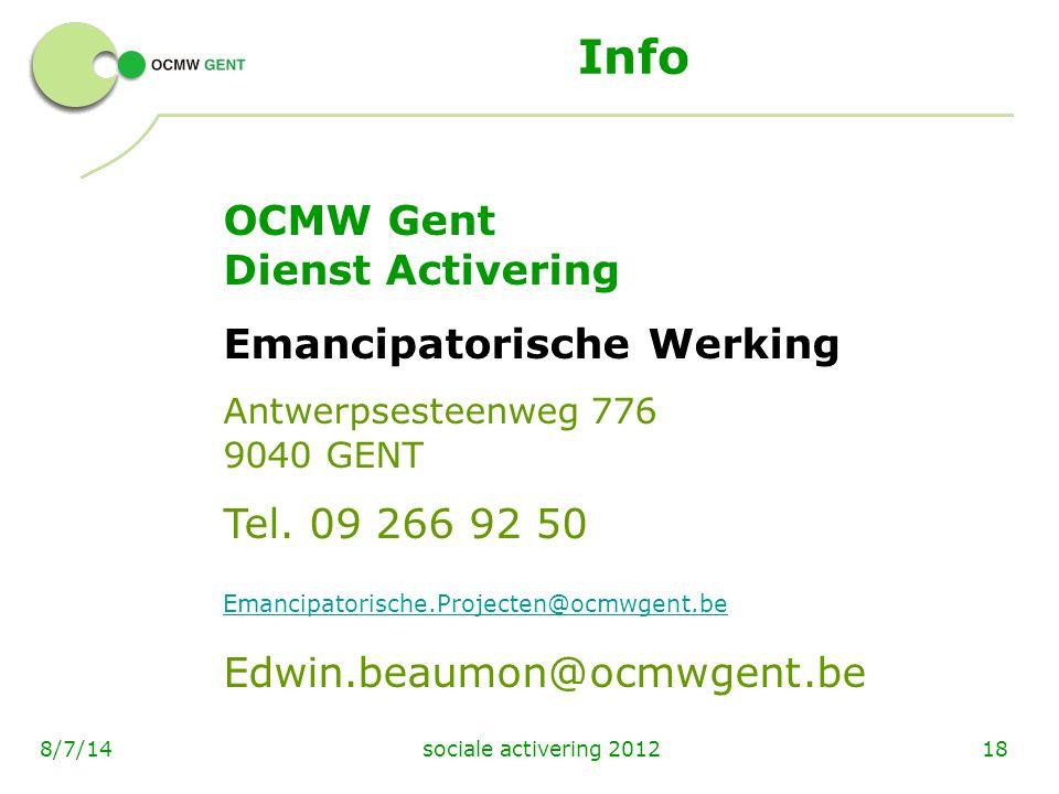 Info OCMW Gent Dienst Activering Emancipatorische Werking