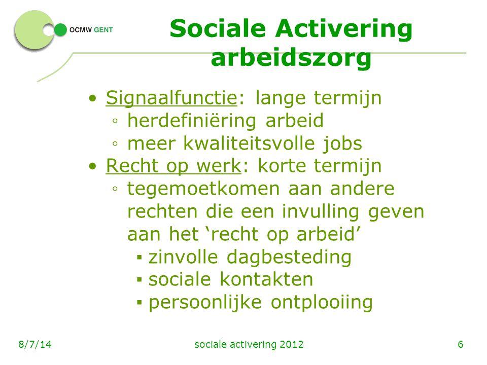 Sociale Activering arbeidszorg