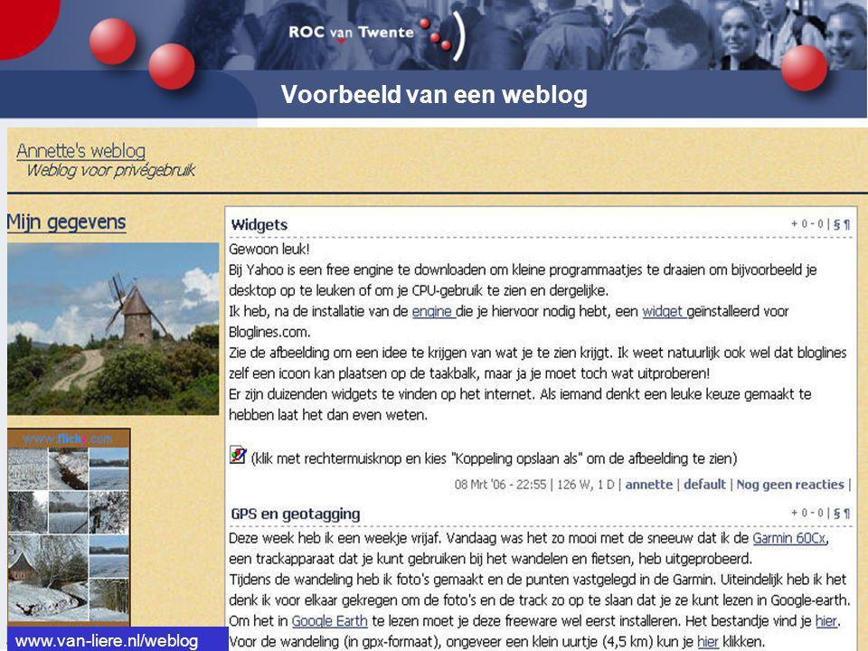 Voorbeeld van een weblog