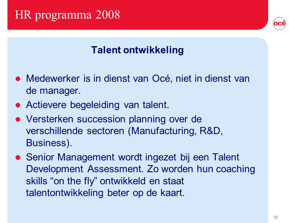 HR programma 2008 Talent ontwikkeling