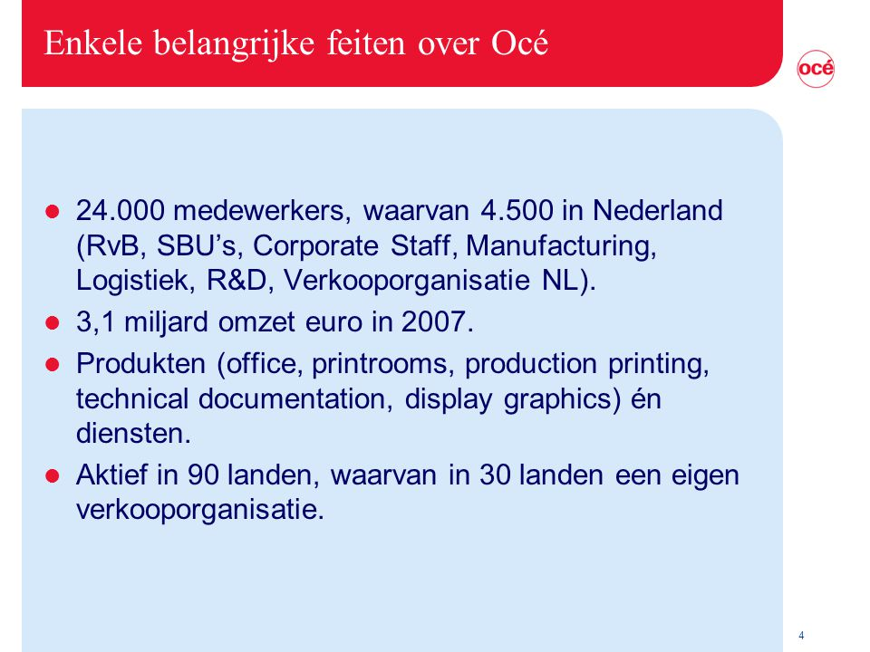Enkele belangrijke feiten over Océ