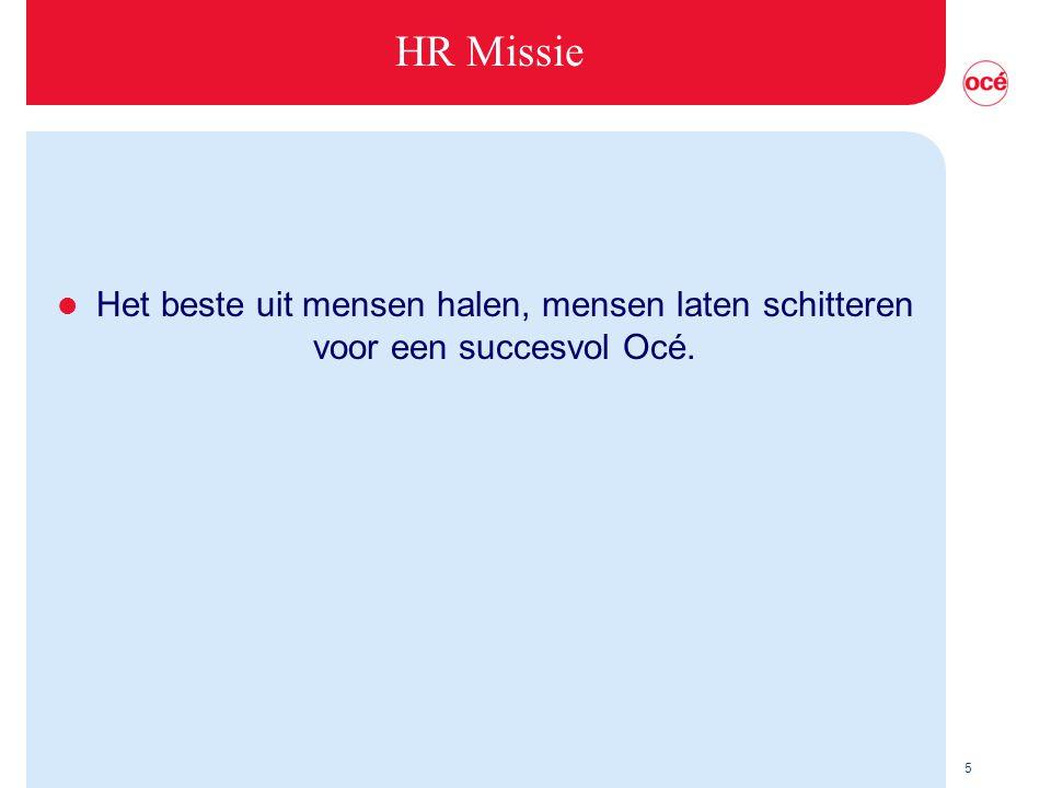 HR Missie Het beste uit mensen halen, mensen laten schitteren voor een succesvol Océ.