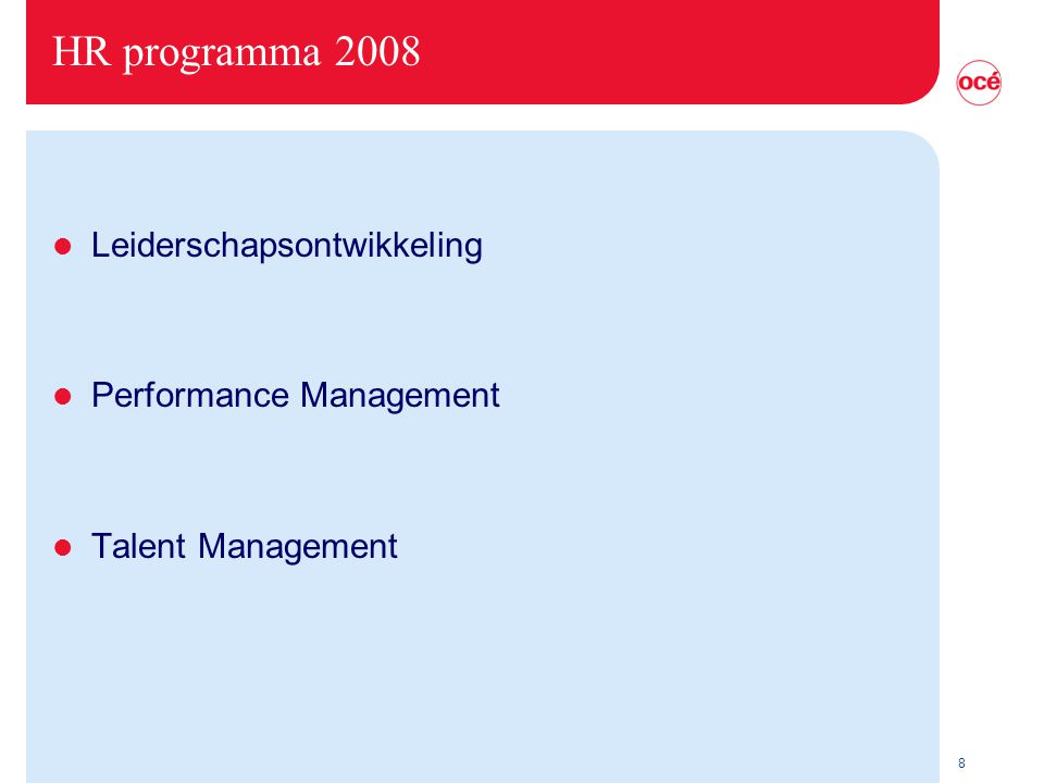 HR programma 2008 Leiderschapsontwikkeling Performance Management