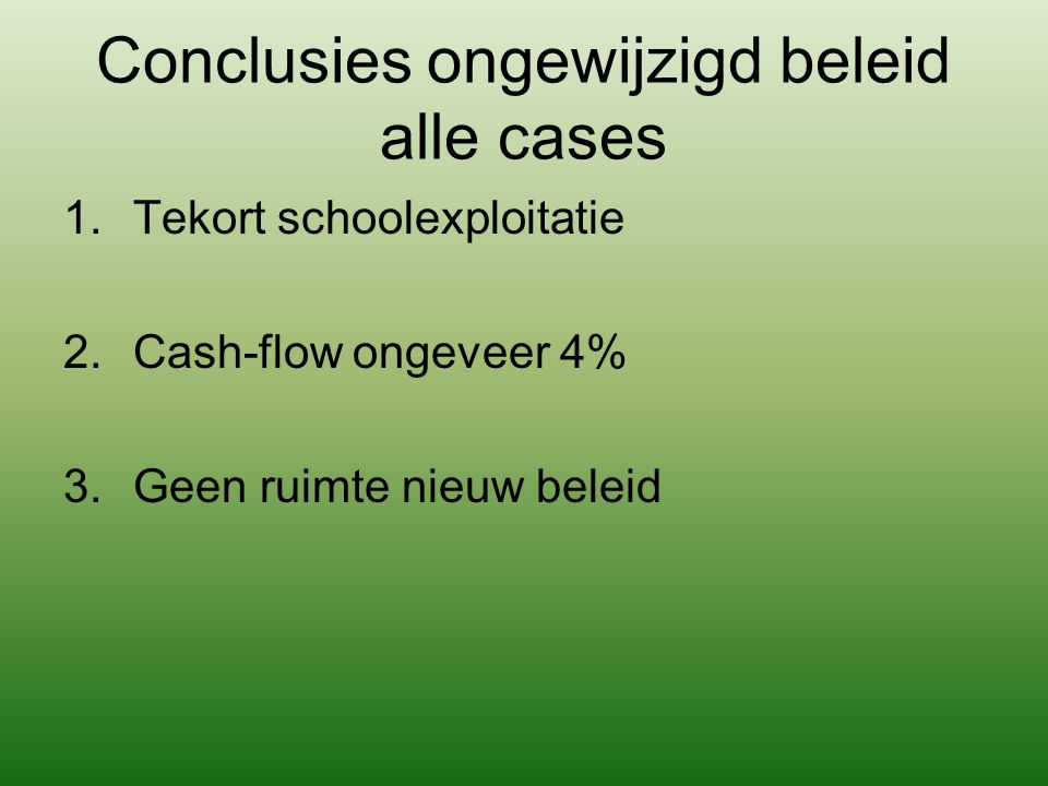Conclusies ongewijzigd beleid alle cases