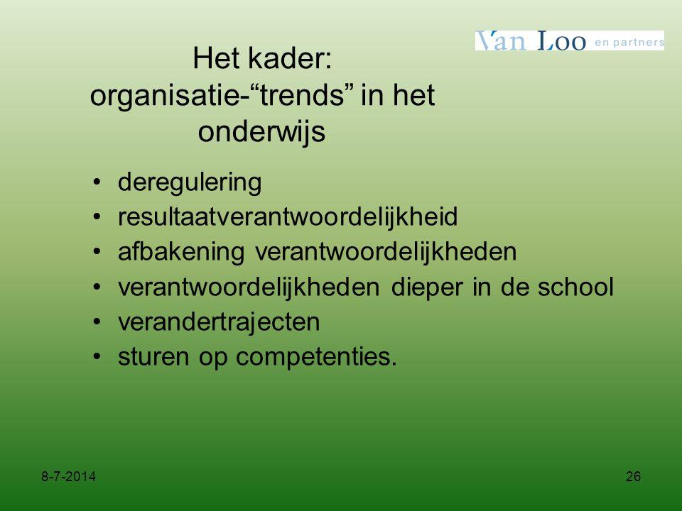 Het kader: organisatie- trends in het onderwijs