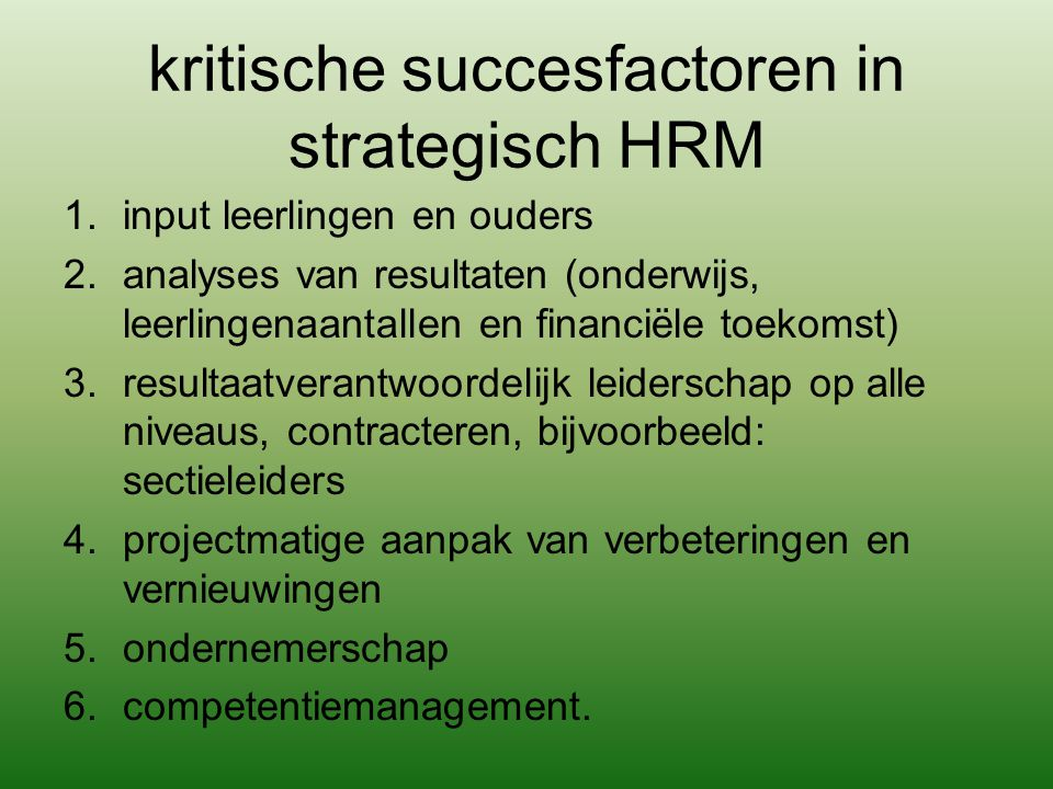 kritische succesfactoren in strategisch HRM