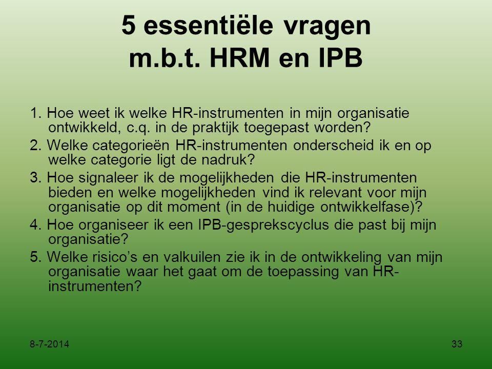 5 essentiële vragen m.b.t. HRM en IPB