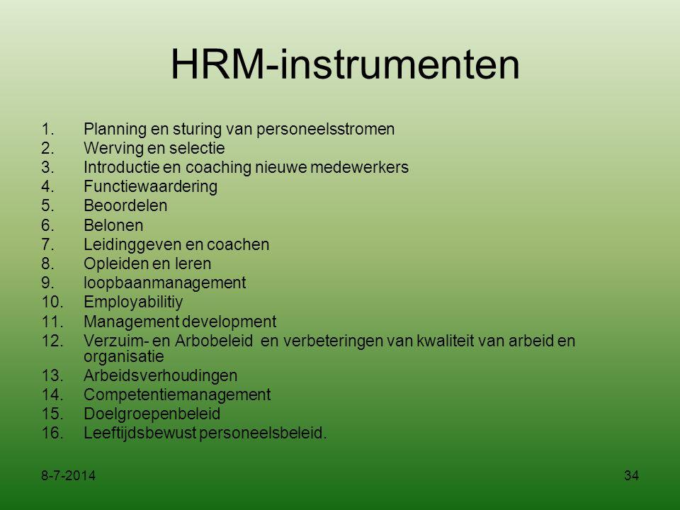 HRM-instrumenten Planning en sturing van personeelsstromen