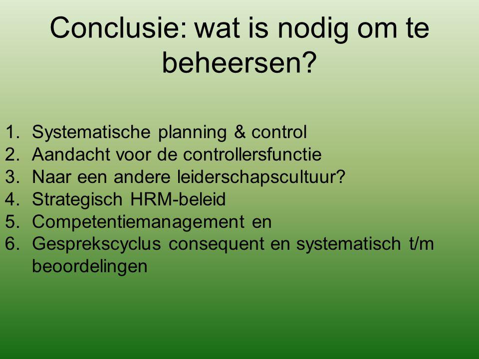 Conclusie: wat is nodig om te beheersen