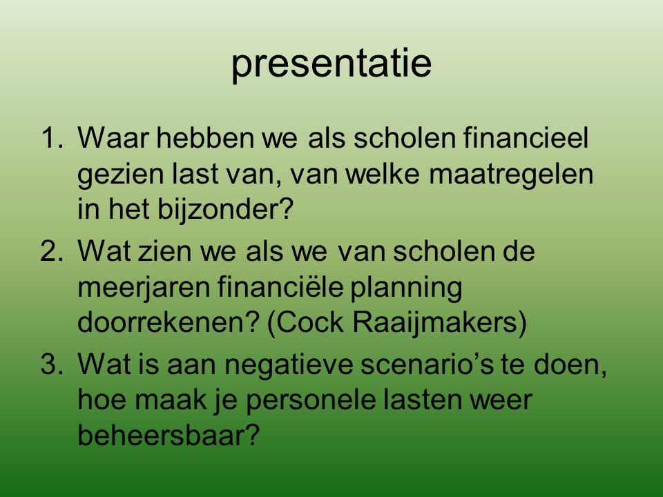 presentatie Waar hebben we als scholen financieel gezien last van, van welke maatregelen in het bijzonder