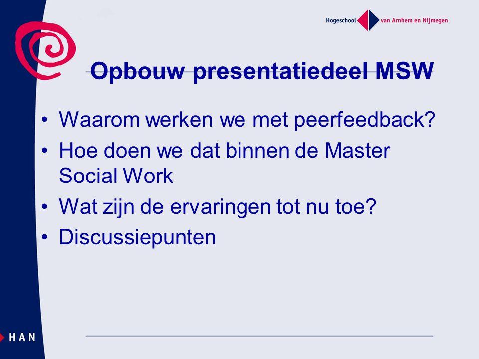 Opbouw presentatiedeel MSW