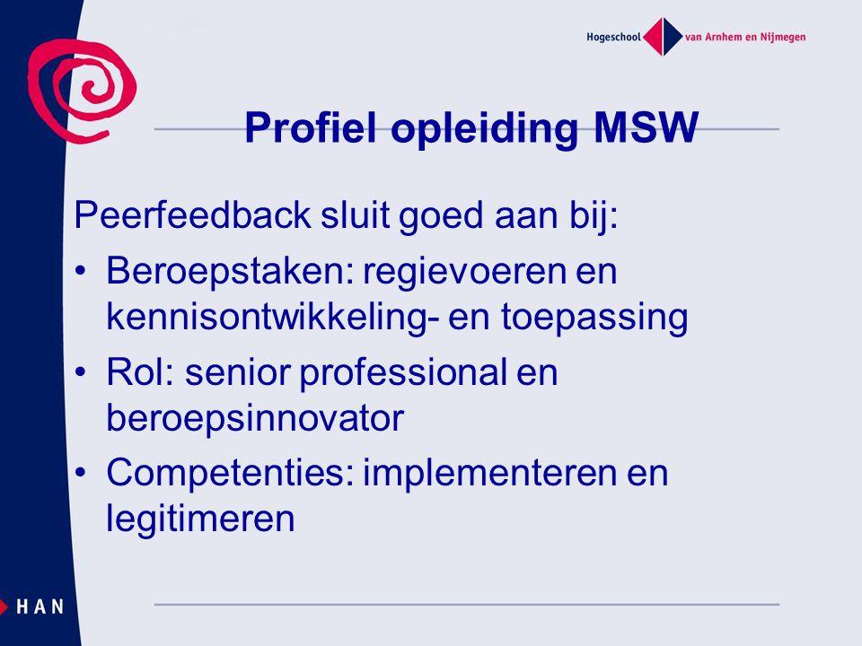 Profiel opleiding MSW Peerfeedback sluit goed aan bij: