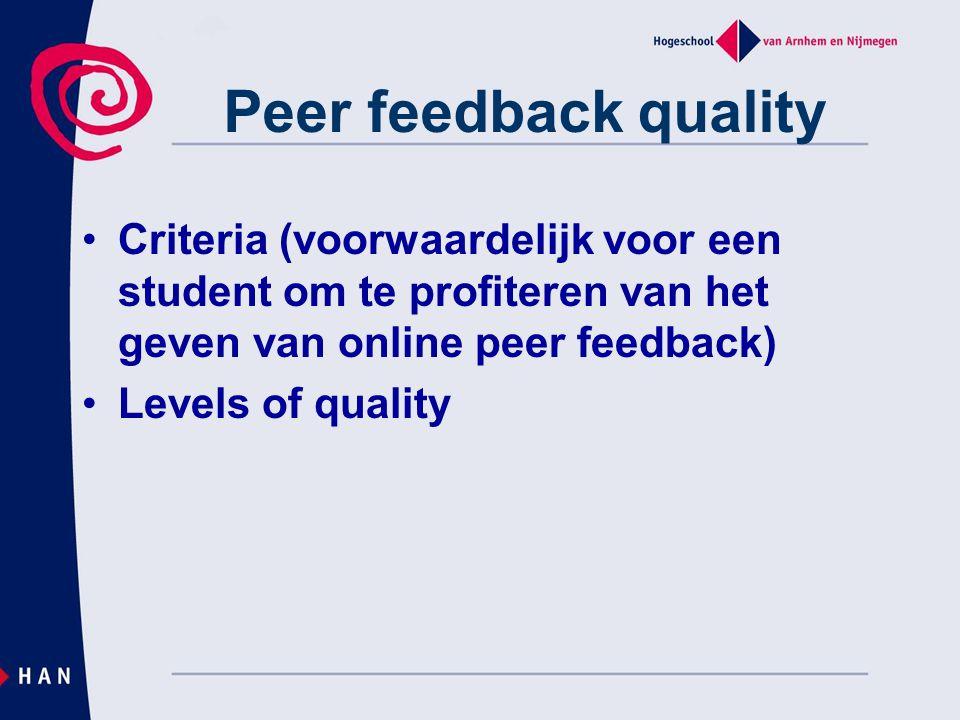 Peer feedback quality Criteria (voorwaardelijk voor een student om te profiteren van het geven van online peer feedback)