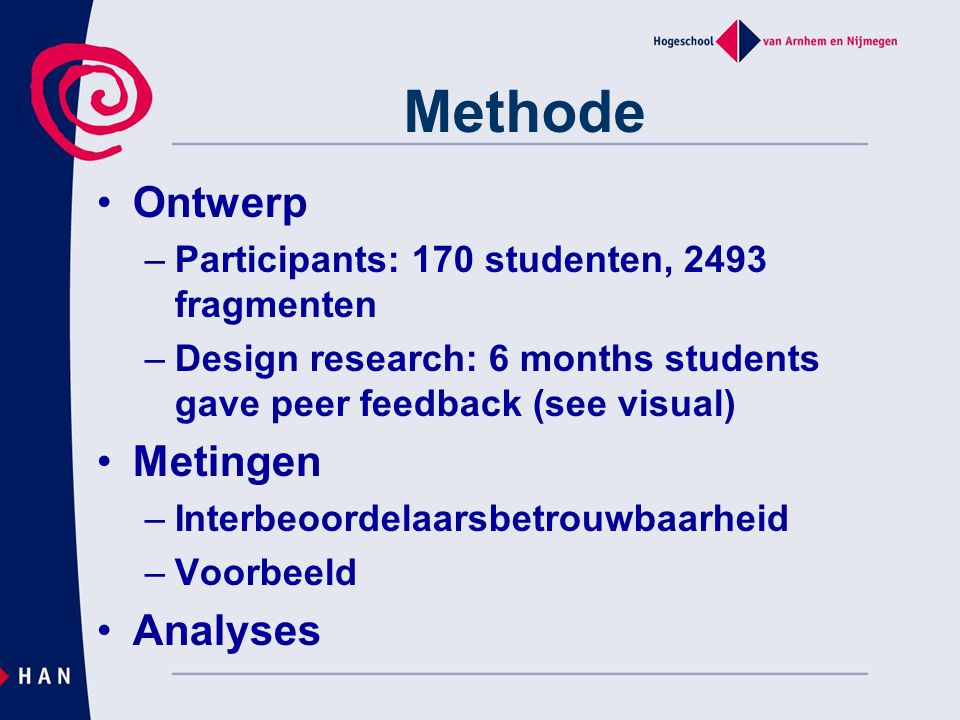 Methode Ontwerp Metingen Analyses