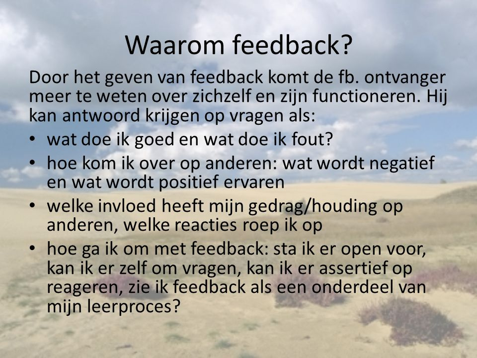 Waarom feedback