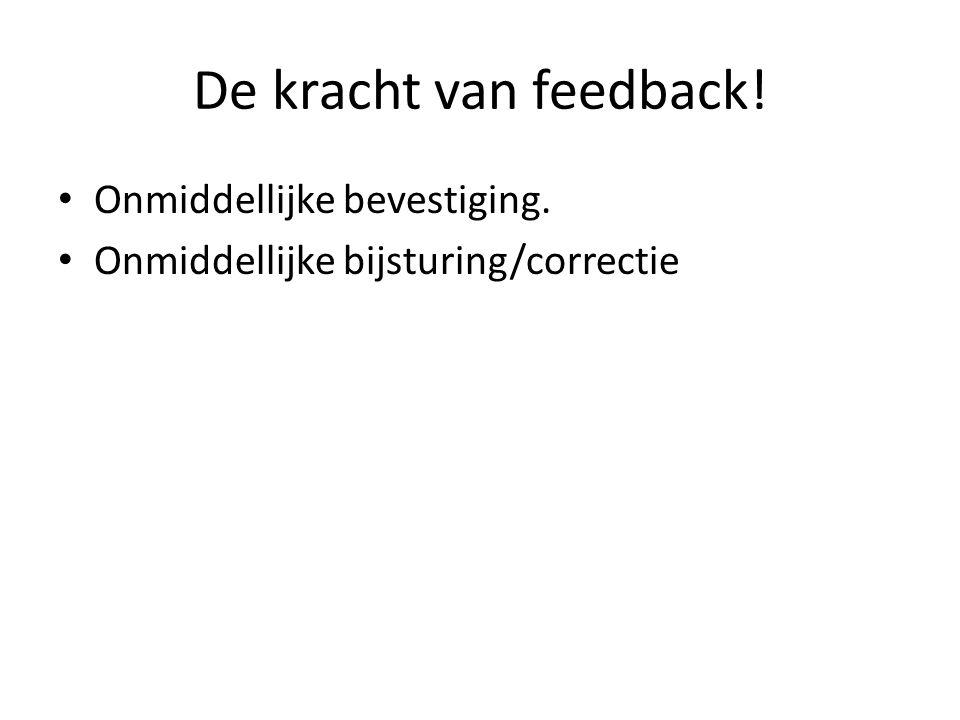 De kracht van feedback! Onmiddellijke bevestiging.