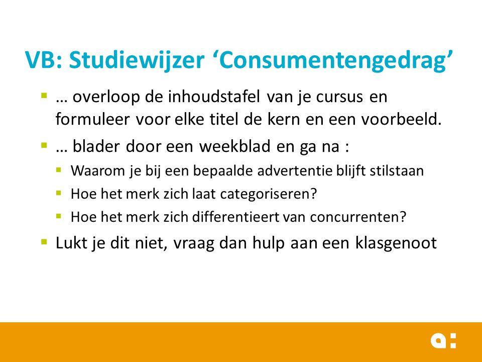 VB: Studiewijzer 'Consumentengedrag'
